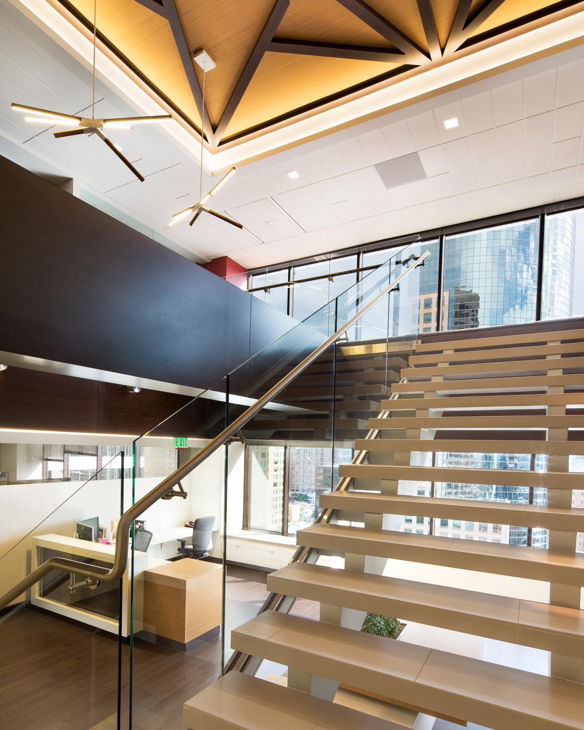Alden Torch Financial Stairs From Lobby Commercial Construction Denver Colorado