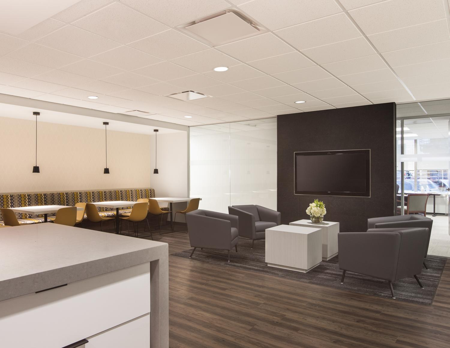 Caerus Oil and Gas Break Room and Seating Area Commercial Construction Denver Colorado