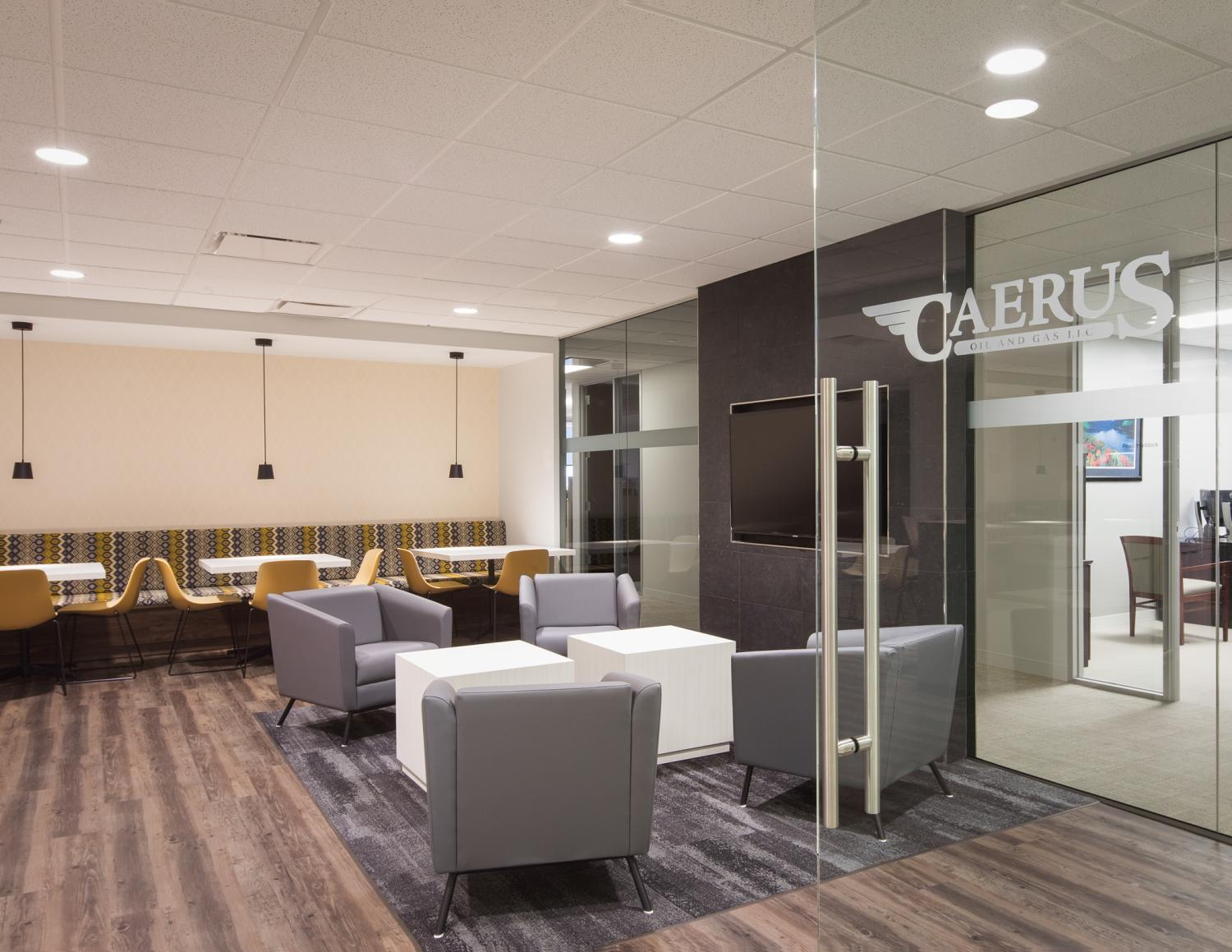 Caerus Oil and Gas Break Room Commercial Construction Denver Colorado