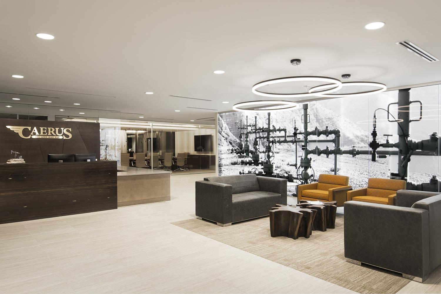 Caerus Oil and Gas Reception Area Commercial Construction Denver Colorado