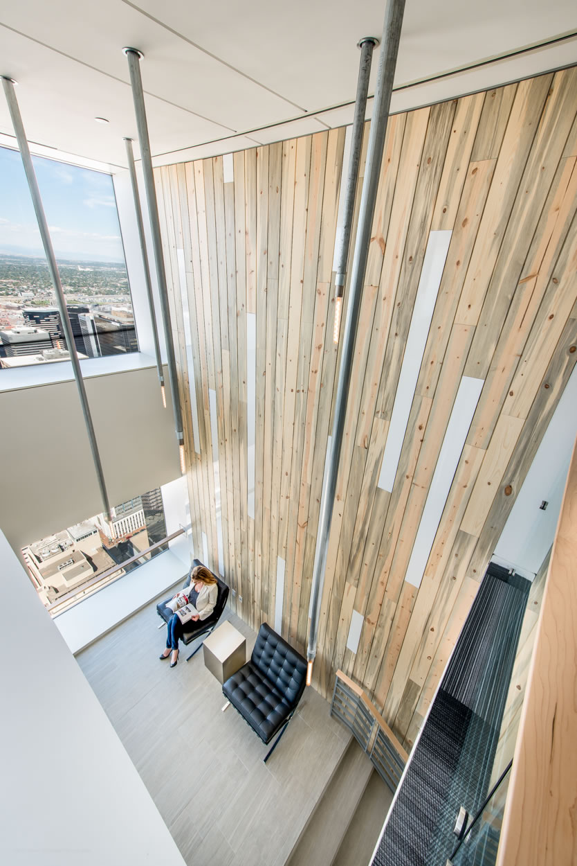 Extraction Oil and Gas Pipe Lighting Design and Chairs from Second Floor View Denver Colorado