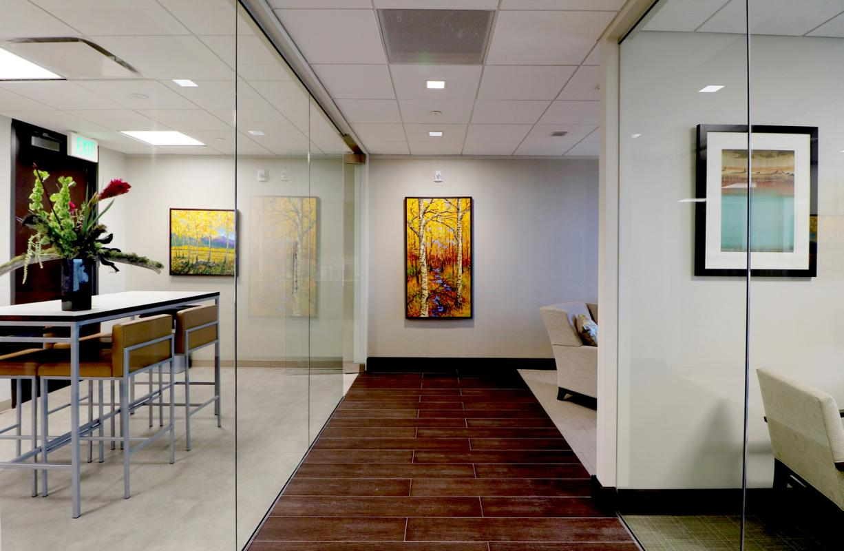 The Siegfried Group Hallway Kitchen on Left Offices on Right Denver Colorado