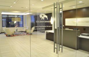 D A Davidson Logo Looking in Through Glass Doors Into Lobby Denver CO