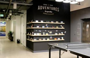 Expedia Adventure Wall and Ping Pong Table Commercial Construction Denver Colorado